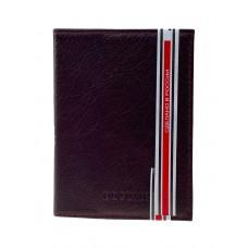 На фото 1 - Обложка для паспорта и автодокументов из натуральной кожи, цвет шоколад
