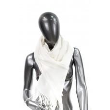 На фото 1 - Шарф-палантин из шерсти и хлопка, цвет белый