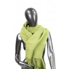 На фото 1 - Шарф-палантин из шерсти и хлопка, цвет салатовый