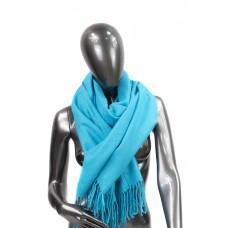 На фото 1 - Шарф-палантин из шерсти и хлопка, цвет бирюзовый