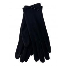 На фото 1 - Демисезонные женские перчатки из велюра, цвет чёрный