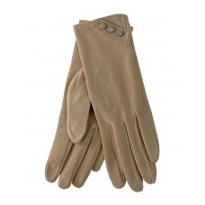 На фото 1 - Демисезонные женские перчатки из велюра, цвет бежевый