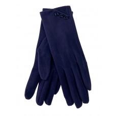 На фото 1 - Демисезонные женские перчатки из велюра, цвет тёмно-синий