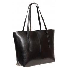 На фото 1 - Кожаная сумка-трапеция, цвет чёрный