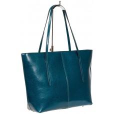 На фото 1 - Кожаная сумка-трапеция, цвет бирюза