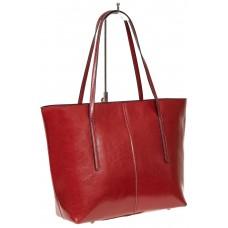 На фото 1 - Кожаная сумка-трапеция, цвет красный
