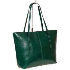 На фото 1 - Кожаная сумка-трапеция, цвет зелёный
