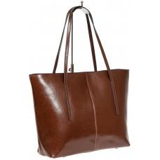 На фото 1 - Кожаная сумка-трапеция, цвет коричневый