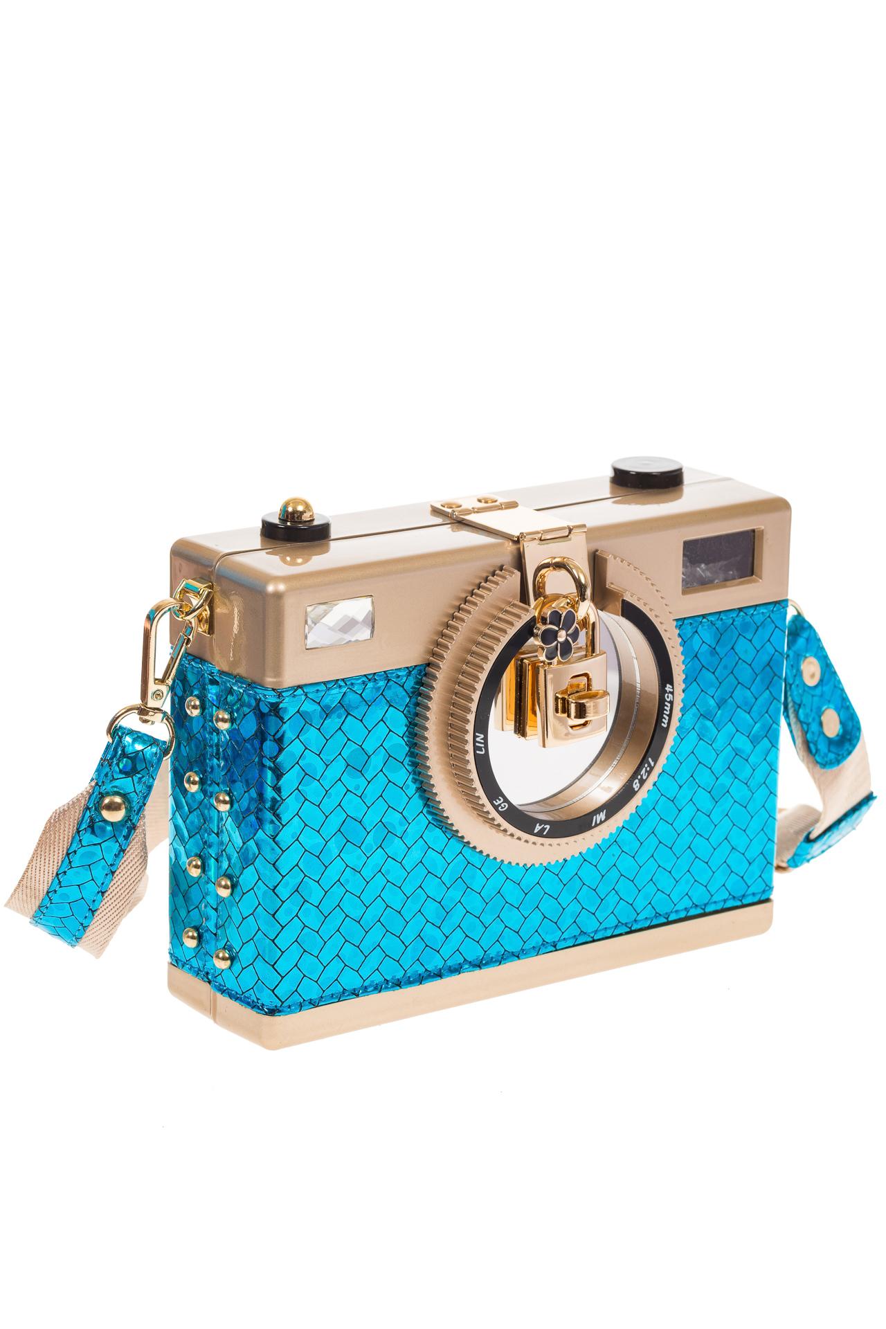Сумочка-фотоаппарат голубого цвета 2606 для опта