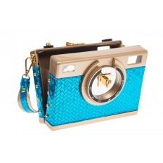 На фото 4 - Сумочка-фотоаппарат голубого цвета 2606
