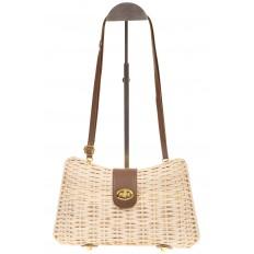 На фото 2 - Плетеная сумка из соломы с кожаной застежкой 261