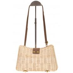На фото 3 - Плетеная сумка из соломы с кожаной застежкой 261