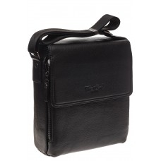На фото 1 - Кожаная мужская сумка черного цвета