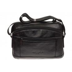 На фото 2 - Черная сумка из натуральной кожи, модель для мужчин
