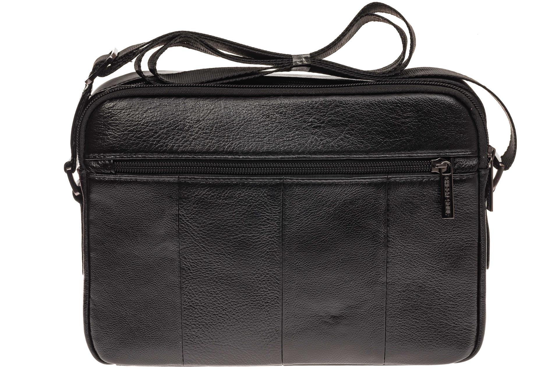 На фото 3 - Черная сумка из натуральной кожи, модель для мужчин