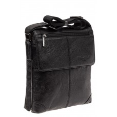 На фото 1 - Мужская кожаная сумка планшет, цвет черный