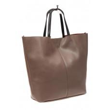 На фото 1 - Сумка-мешок из натуральной кожи женская, цвет бежевый