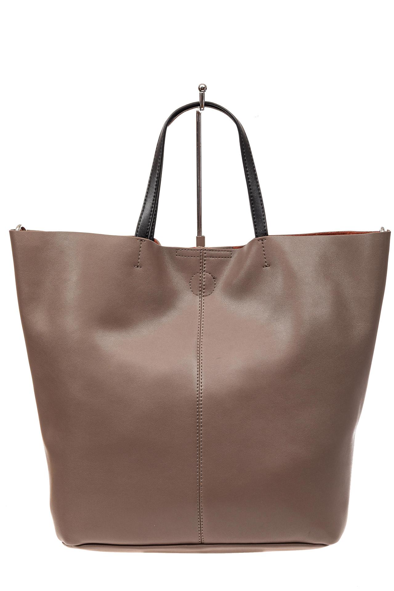 На фото 2 - Сумка-мешок из натуральной кожи женская, цвет бежевый