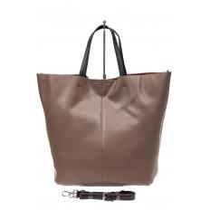 На фото 3 - Сумка-мешок из натуральной кожи женская, цвет бежевый
