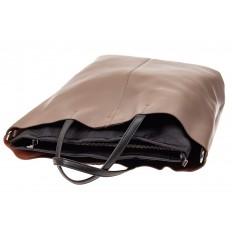 На фото 4 - Сумка-мешок из натуральной кожи женская, цвет бежевый