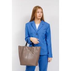 На фото 5 - Сумка-мешок из натуральной кожи женская, цвет бежевый