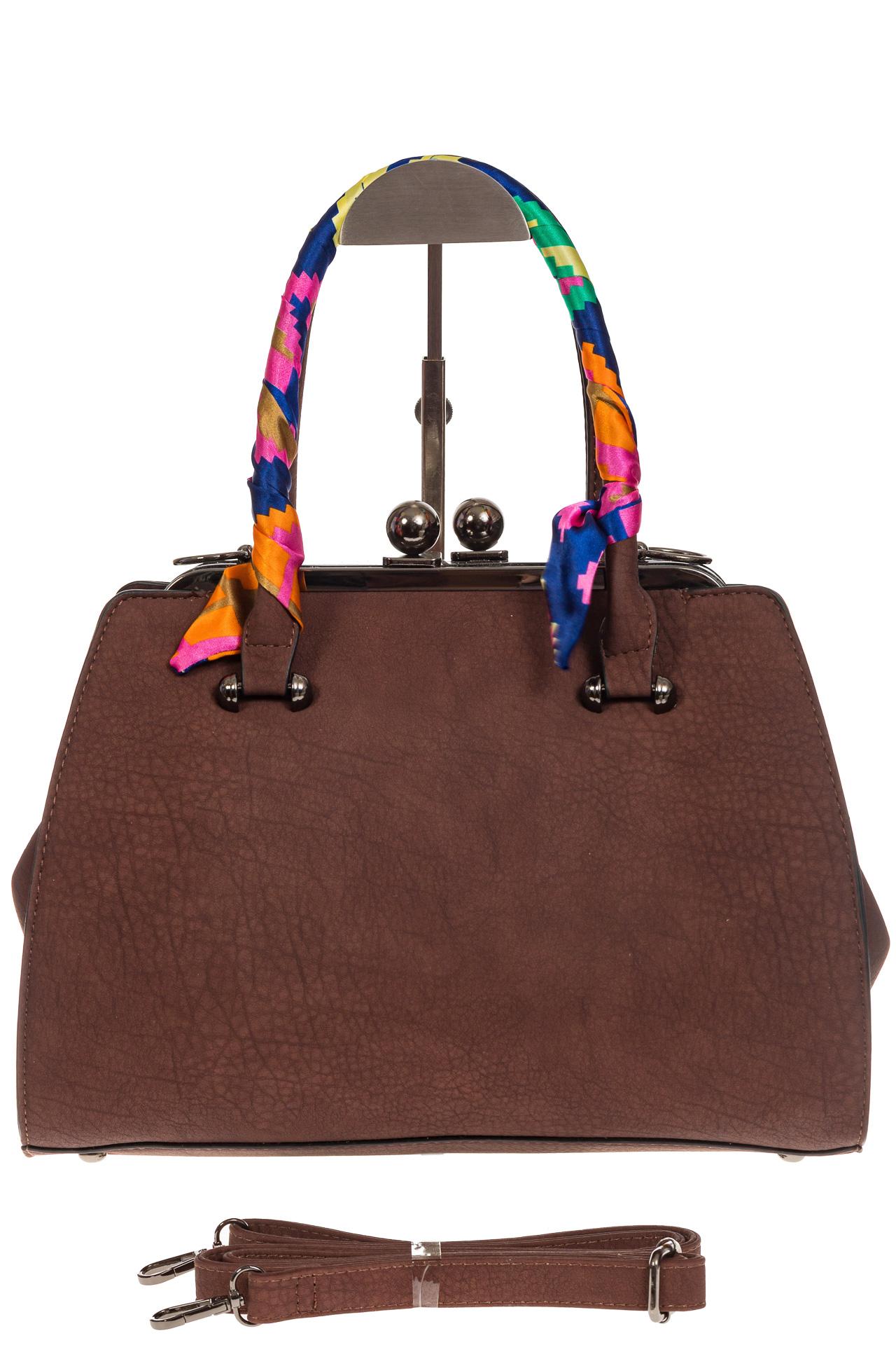 На фото 2 - Кофейная сумка из искусственной кожи с фермуаром