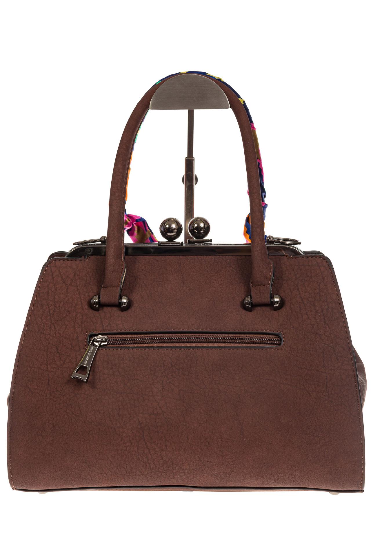 На фото 3 - Кофейная сумка из искусственной кожи с фермуаром