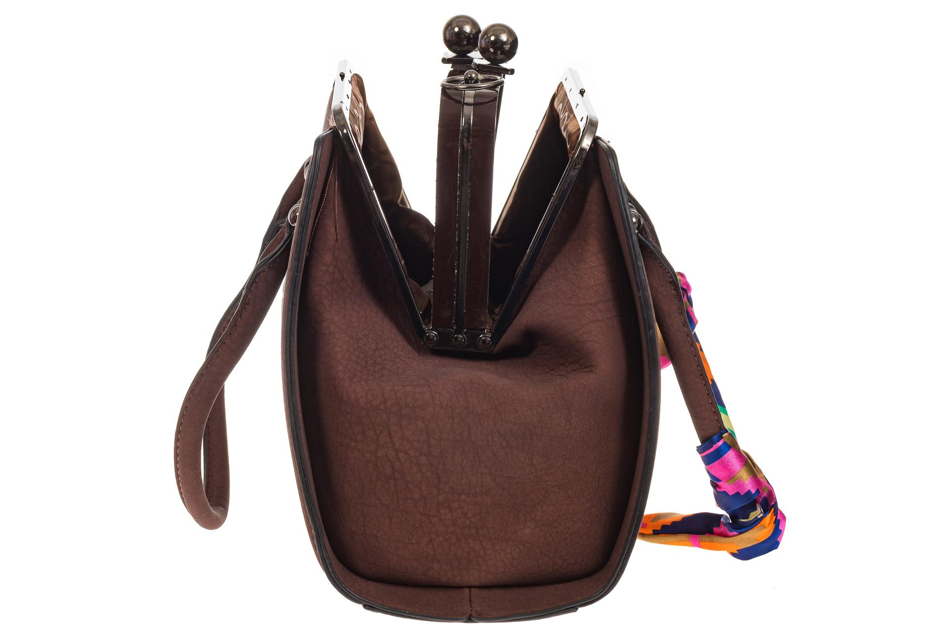 На фото 4 - Кофейная сумка из искусственной кожи с фермуаром
