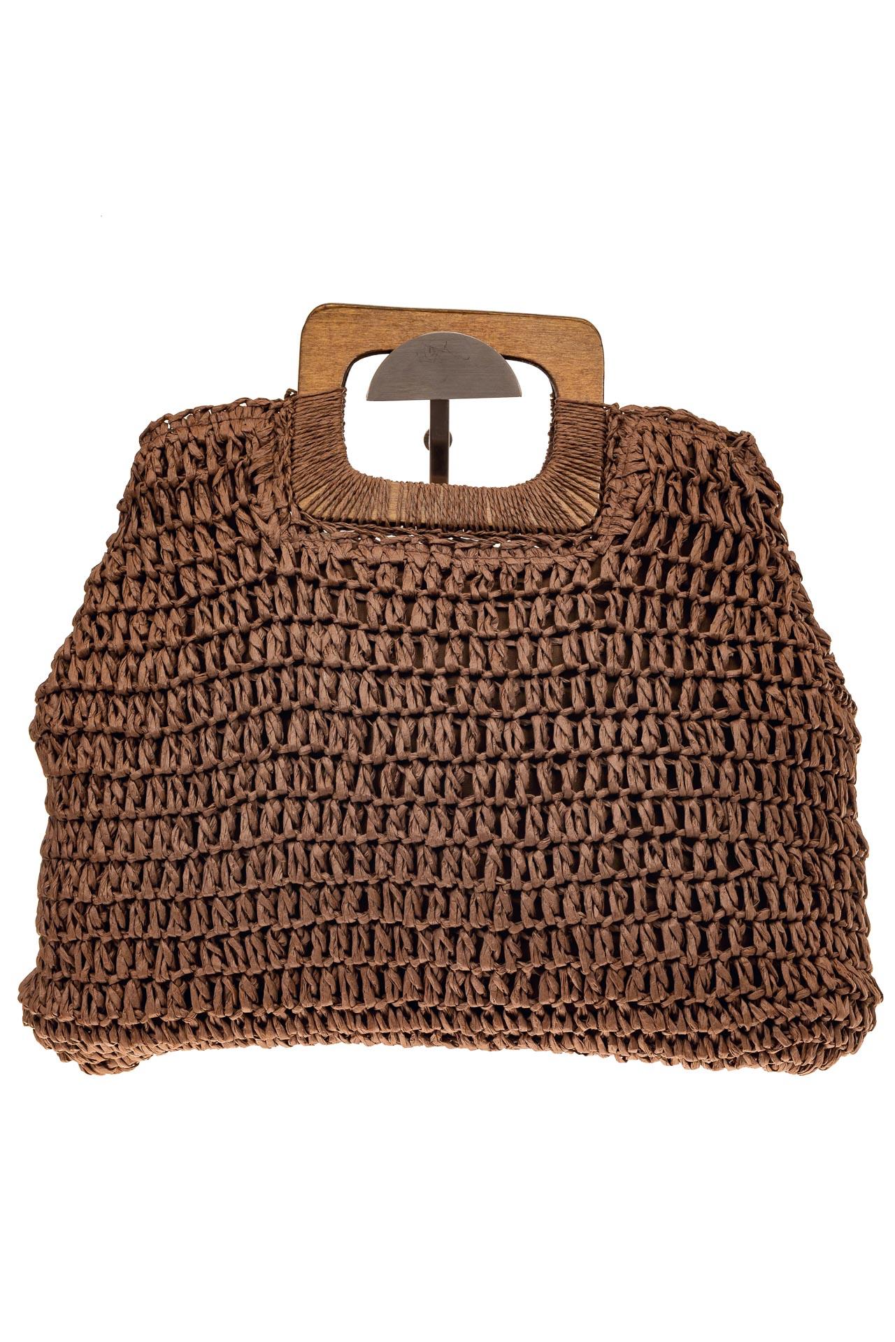 На фото 2 - Плетеная сумка-авоська из джута с деревянными ручками, цвет коричневый
