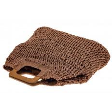 На фото 3 - Плетеная сумка-авоська из джута с деревянными ручками, цвет коричневый