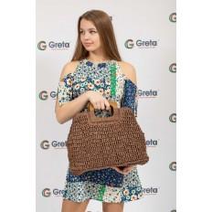 На фото 4 - Плетеная сумка-авоська из джута с деревянными ручками, цвет коричневый