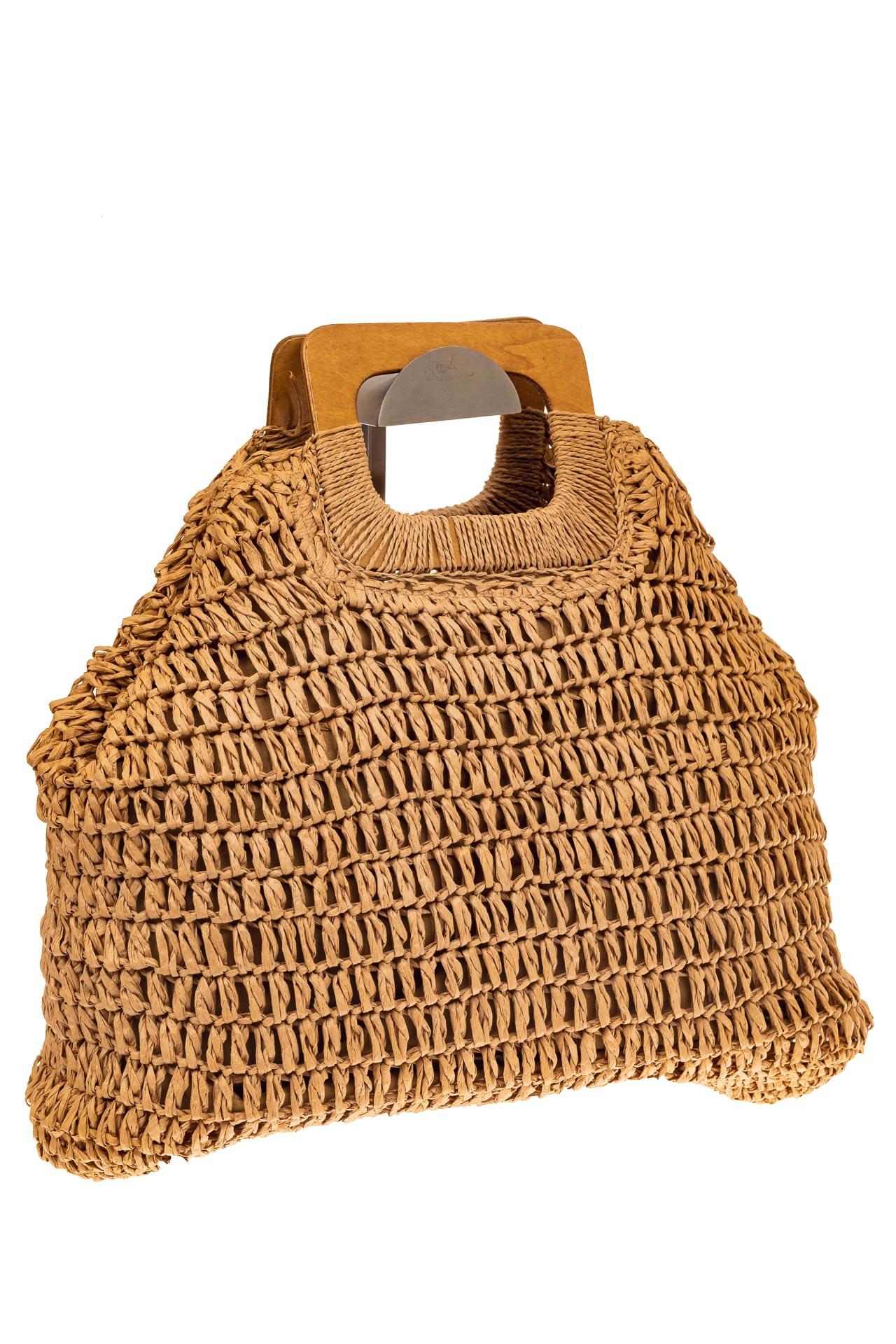 На фото 1 - Плетеная сумка-авоська из джута с деревянными ручками, цвет крафт