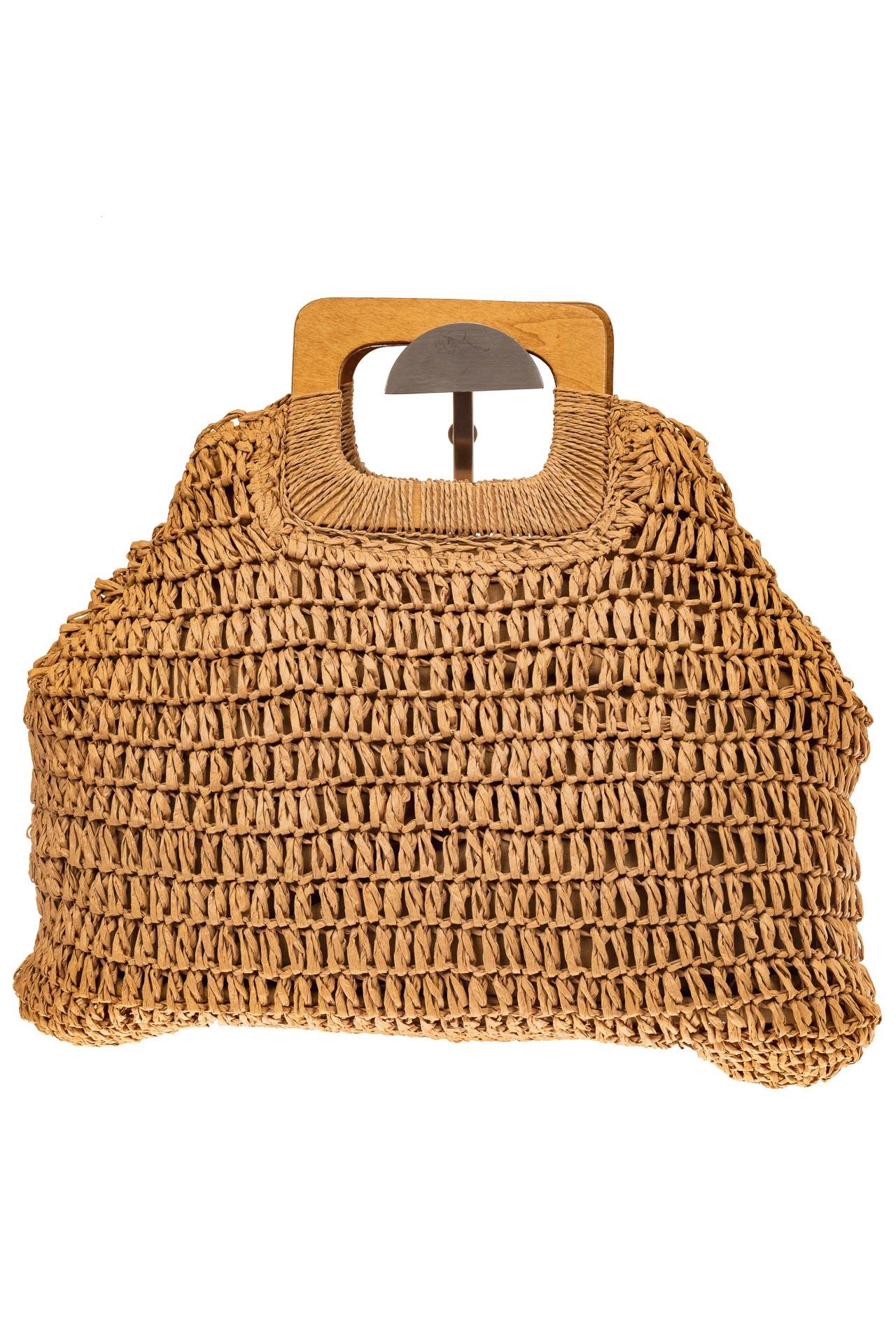 На фото 2 - Плетеная сумка-авоська из джута с деревянными ручками, цвет крафт
