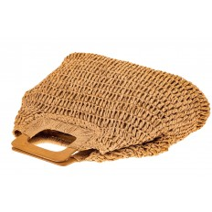 На фото 3 - Плетеная сумка-авоська из джута с деревянными ручками, цвет крафт