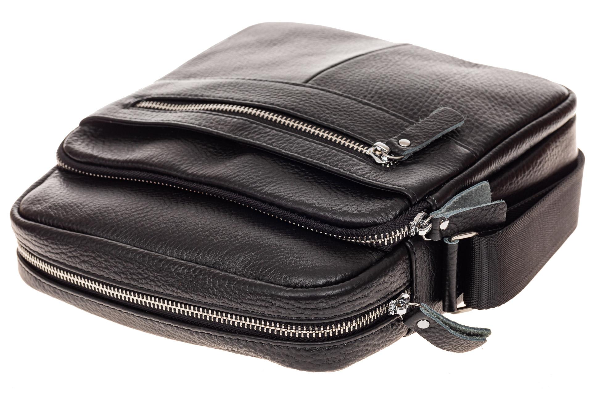 На фото 4 - Мужская сумка планшет через плечо, черная