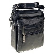 На фото 1 - Мужская кожаная сумка под документы, чёрный цвет
