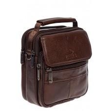 На фото 1 - Кожаная мужская сумка для документов, цвет коричневый