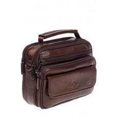 На фото 1 - Небольшая мужская сумка под документы из натуральной кожи, цвет коричневый