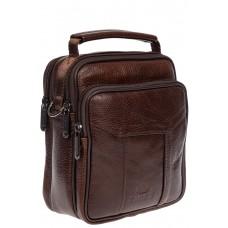 На фото 1 - Мужская кожаная сумка для документов, цвет коричневый