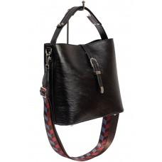 На фото 1 - Женская сумка-бочонок из искусственной кожи, цвет чёрный
