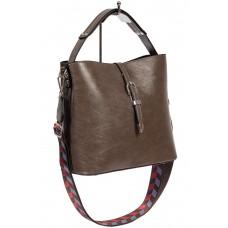 На фото 1 - Женская сумка-бочонок из искусственной кожи, цвет серый