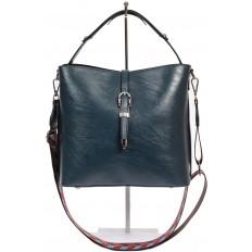 На фото 2 - Женская сумка-бочонок из искусственной кожи, цвет синий