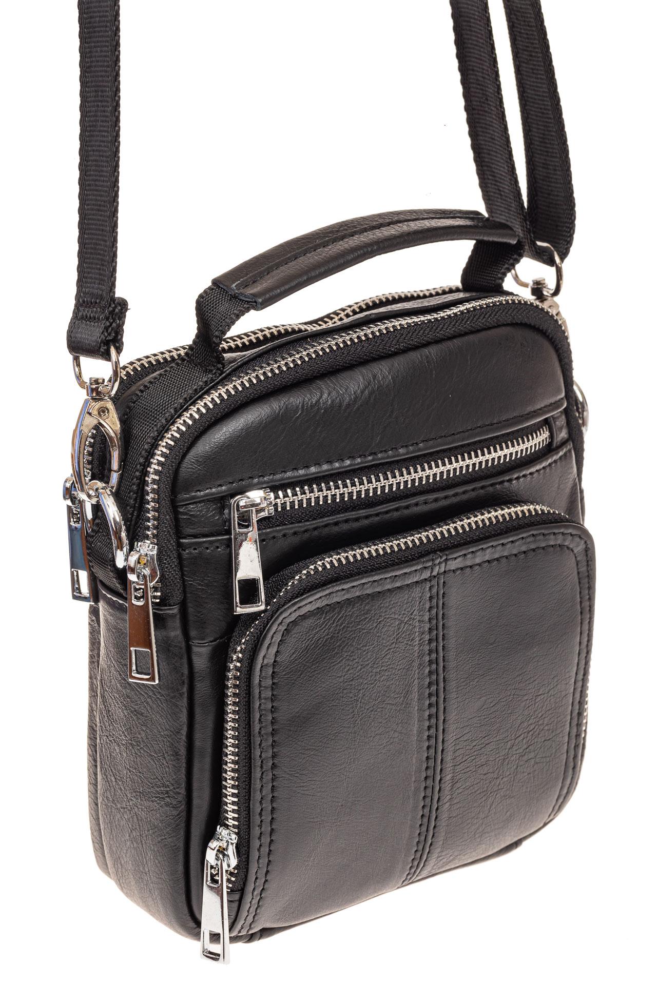 На фото 1 - Мужская сумка для документов, натуральная кожа, цвет черный