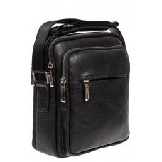 На фото 1 - Повседневная мужская сумка из искусственной кожи, цвет чёрный