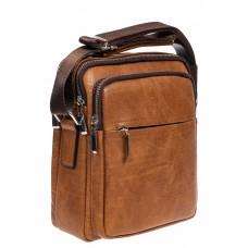 На фото 1 - Повседневная мужская сумка из искусственной кожи, цвет рыжий