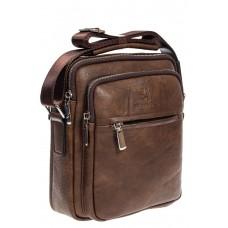 На фото 1 - Повседневная мужская сумка из искусственной кожи, цвет коричневый