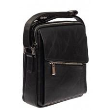 На фото 1 - Мужская сумка под документы из мягкой искусственной кожи, чёрная