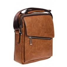 На фото 1 - Мужская сумка под документы из мягкой искусственной кожи, рыжая