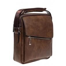 На фото 1 - Мужская сумка под документы из мягкой искусственной кожи, коричневая