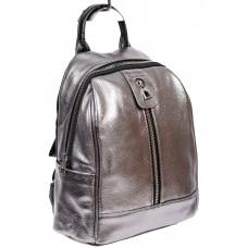 На фото 1 - Рюкзак молодёжный из экокожи, цвет серебристый с чёрным